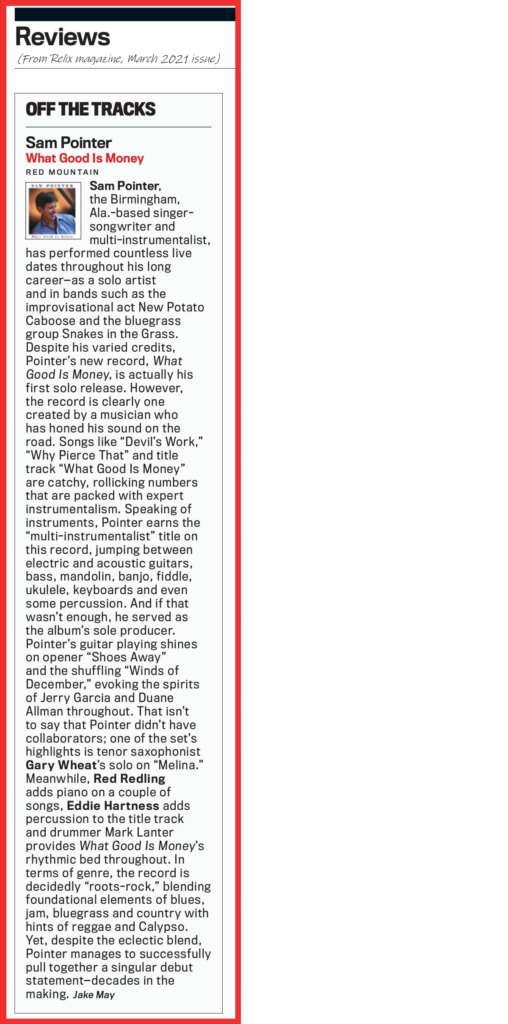 SAM POINTER Review Relix Magazine March 2021.